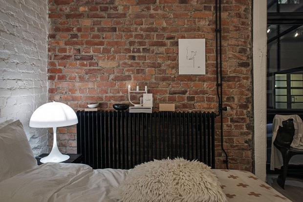 Фотография: Спальня в стиле Лофт, Декор интерьера, Швеция, Белый, Черный, Стокгольм, 2 комнаты, 40-60 метров – фото на InMyRoom.ru