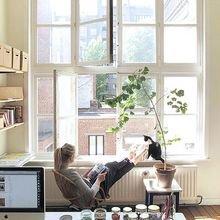 Фотография: Офис в стиле Кантри, Современный, Квартира, Дома и квартиры, Советы, Стены, Подушки, Ремонт на практике – фото на InMyRoom.ru