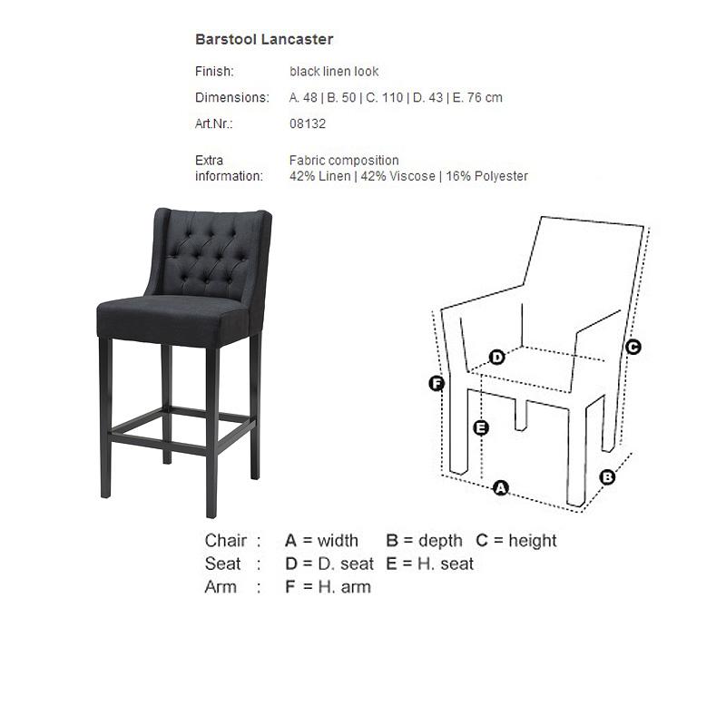 Купить со скидкой Барный стул Lancaster черного цвета