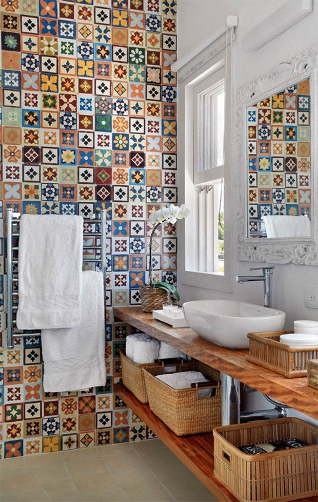 Фотография: Ванная в стиле Прованс и Кантри, Декор интерьера, Текстиль, Декор, Декор дома, Пэчворк – фото на InMyRoom.ru