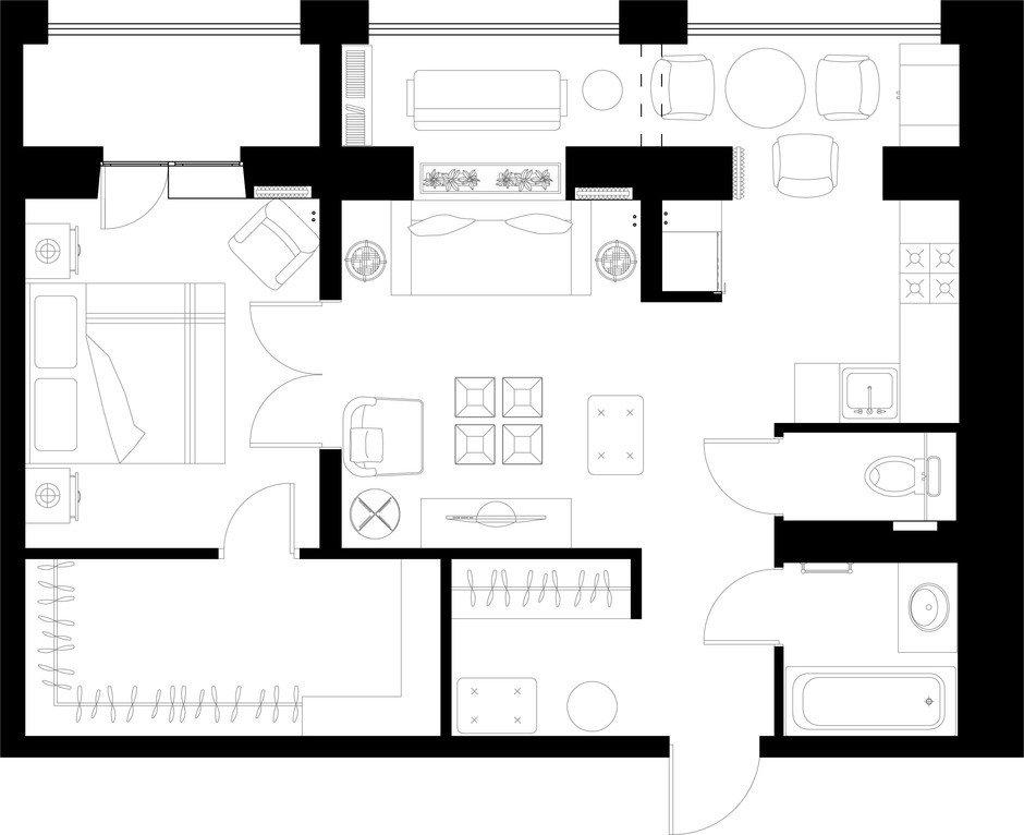Фотография: Планировки в стиле , Квартира, Проект недели, Монолитный дом, 2 комнаты, 40-60 метров, Наталья Митракова, ЖК «Маршал» – фото на InMyRoom.ru