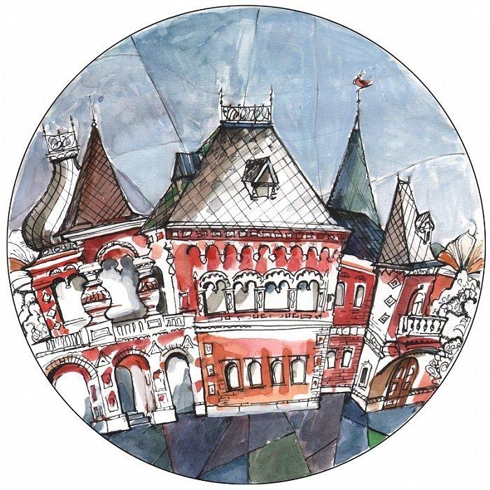 Тарелка сувенирная с волнистыми краями Французкий дом из фаянса