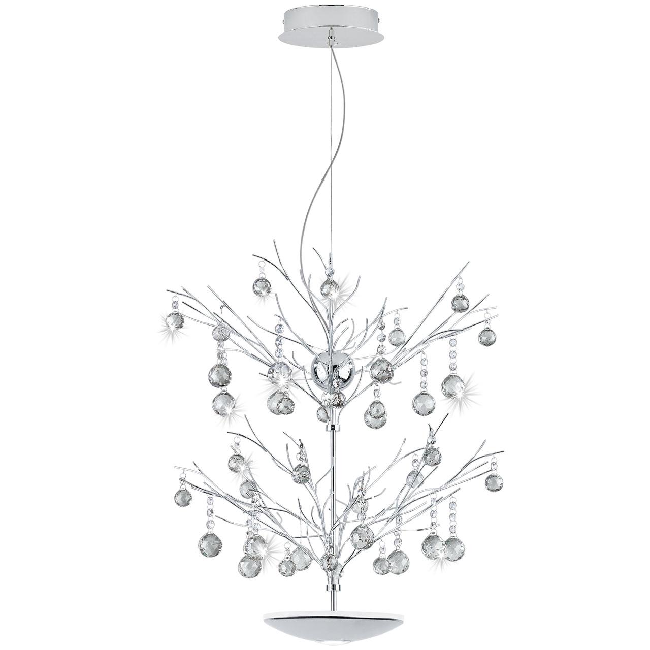 Подвесной светодиодный светильник Eglo Sorges с хрустальными цепочками и кулонами