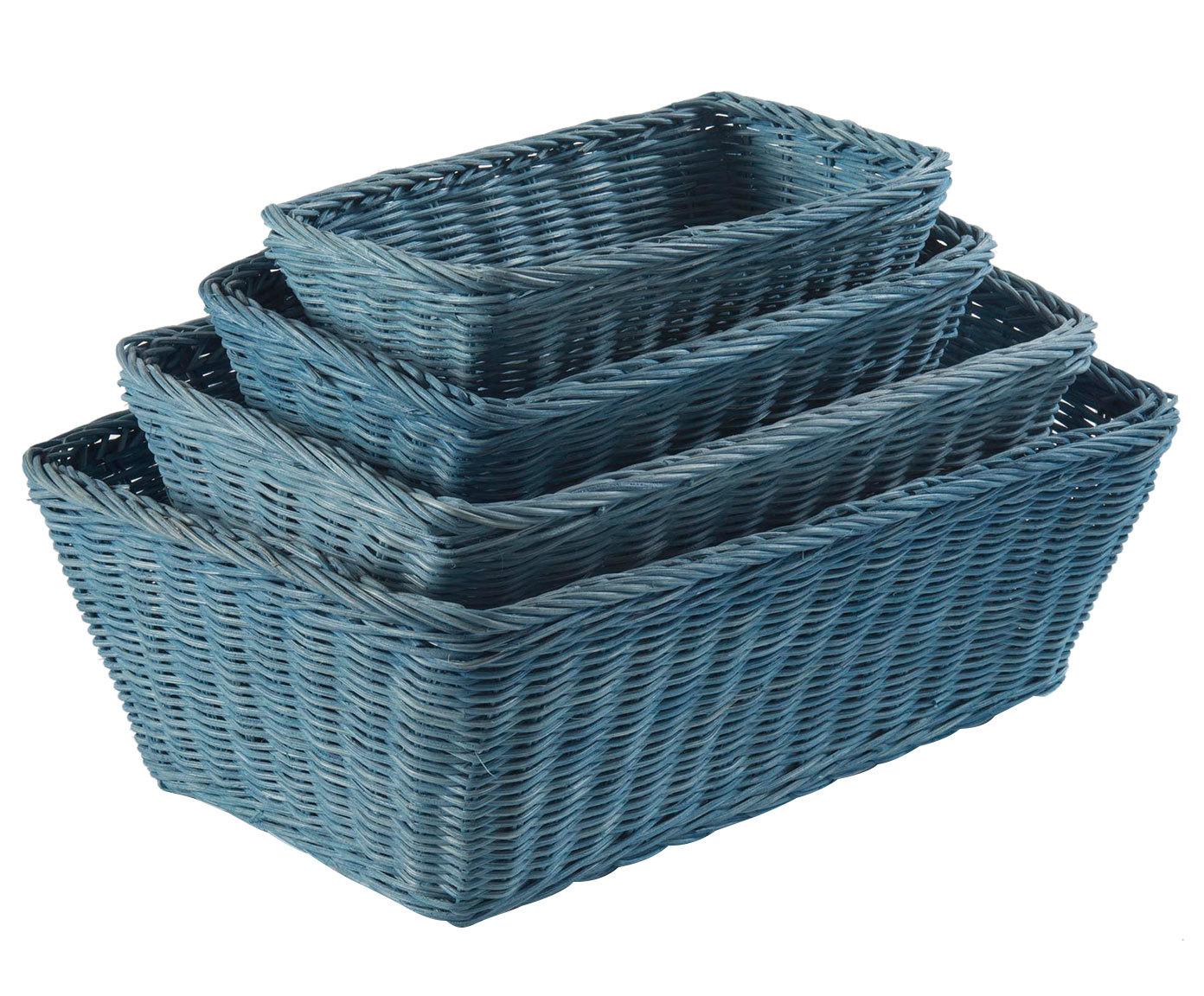 Купить со скидкой Набор из четырех корзин Rattan синего цвета