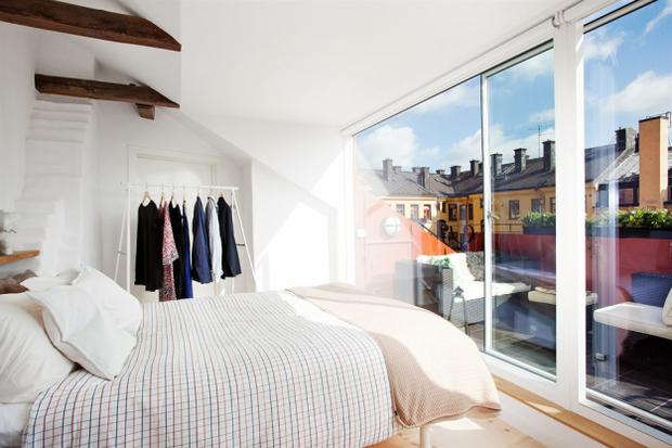 Фотография: Спальня в стиле Скандинавский, Лофт, Малогабаритная квартира, Квартира, Дома и квартиры – фото на InMyRoom.ru