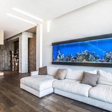 Фотография: Гостиная в стиле Лофт, Современный, Интерьер комнат, Картины, Зеркало – фото на InMyRoom.ru