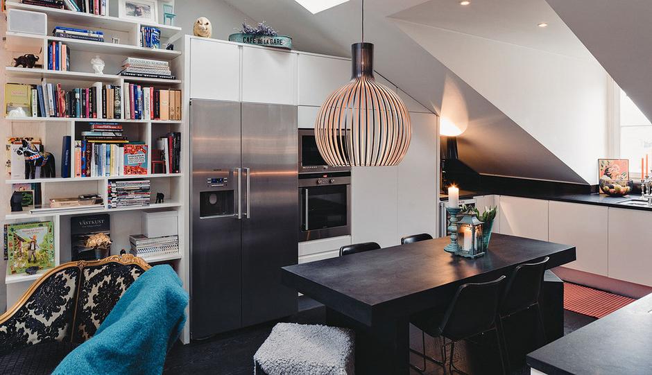Фотография: Кухня и столовая в стиле Скандинавский, Малогабаритная квартира, Квартира, Терраса, Дома и квартиры, Мансарда – фото на InMyRoom.ru