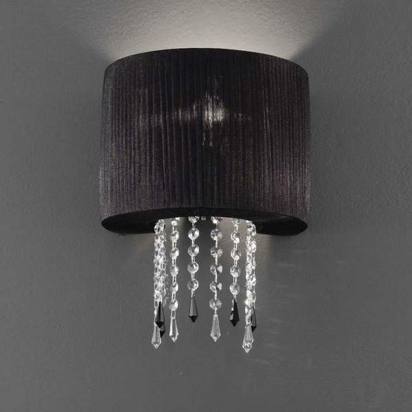 Бра Saint Vincent Agmalux с текстильным плиссированным абажуром черного цвета и подвесками, inmyroom, Италия  - Купить