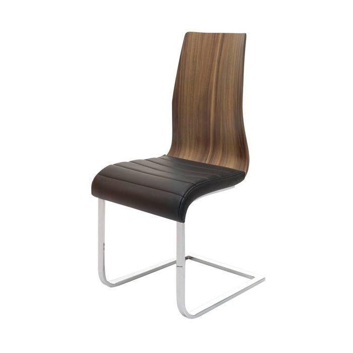 Деревянный стул с хромированными ножками