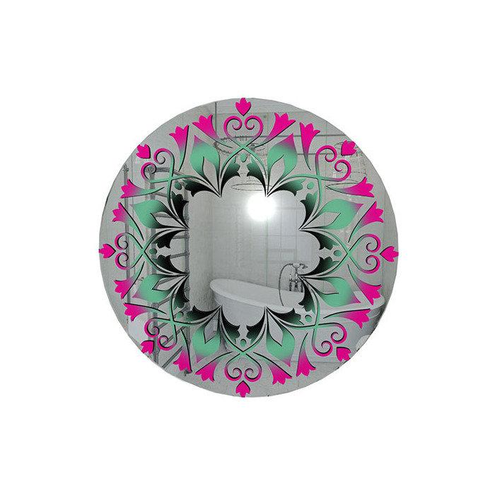"""Зеркало с ярким принтом """"Розовые тюльпаны"""""""