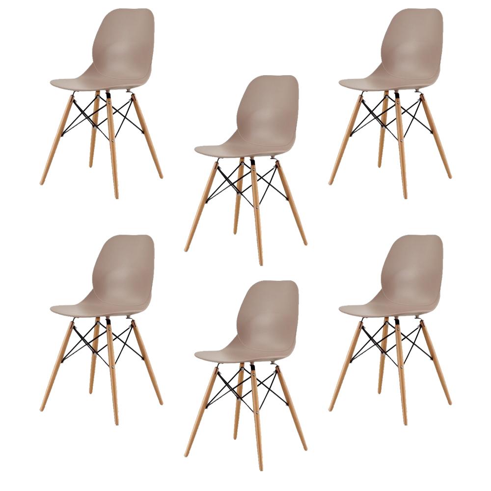 Купить Набор из шести стульев коричневого цвета на деревянных ножках, inmyroom, Китай