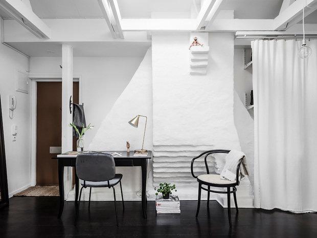 Фотография: Кабинет в стиле Скандинавский, Квартира, Студия, Белый, Кирпичный дом, до 40 метров – фото на INMYROOM