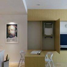 Фотография: Кухня и столовая в стиле Минимализм, Малогабаритная квартира, Квартира, Цвет в интерьере, Дома и квартиры, Белый – фото на InMyRoom.ru