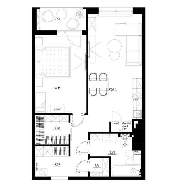 Фотография: Планировки в стиле , Квартира, Перепланировка, Санкт-Петербург, Никита Зуб, 1 комната, 40-60 метров, Монолитно-кирпичный, планировочная среда, ЖК Леонтьевский мыс – фото на INMYROOM