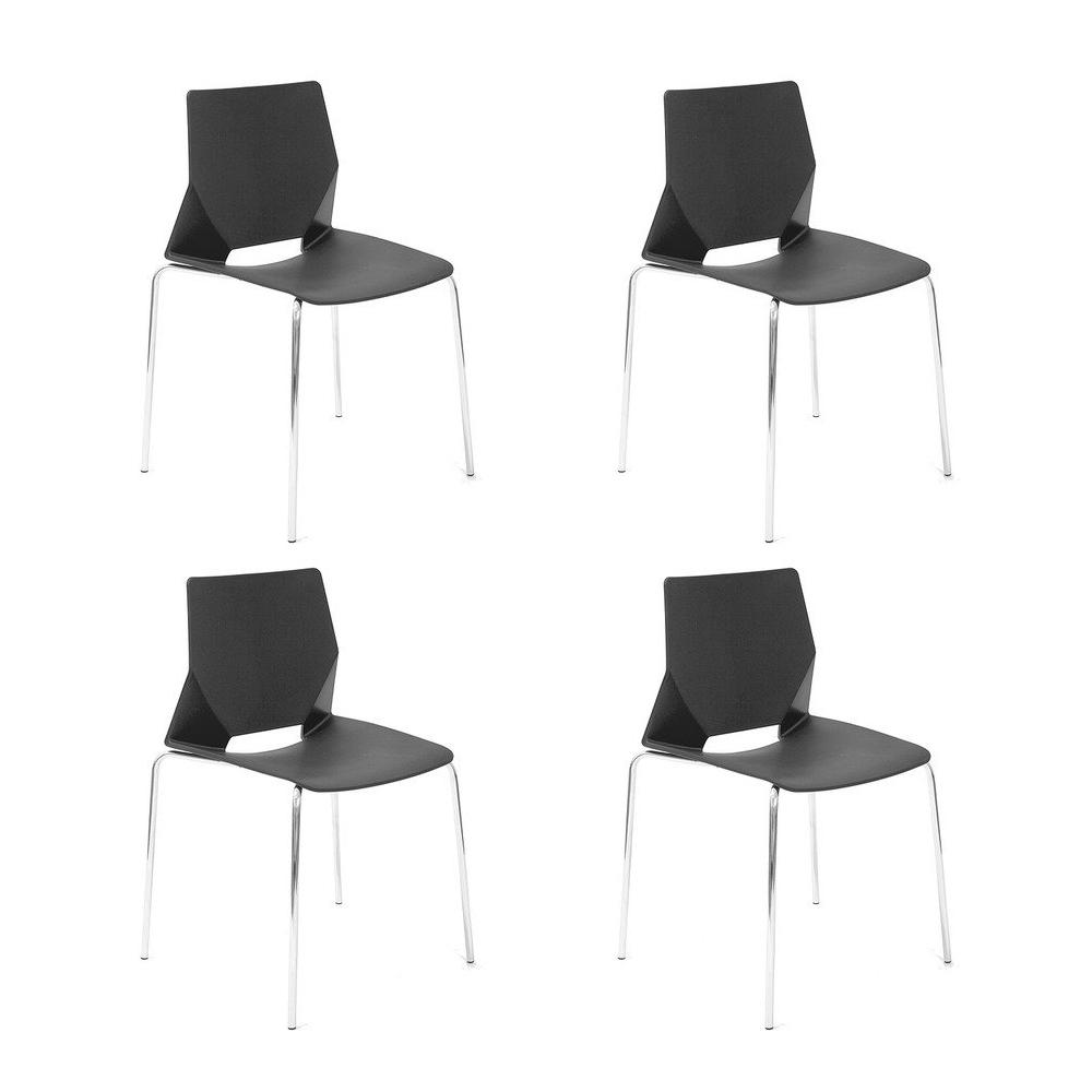 Купить Набор из четырех стульев на металлических ножках черного цвета, inmyroom, Китай