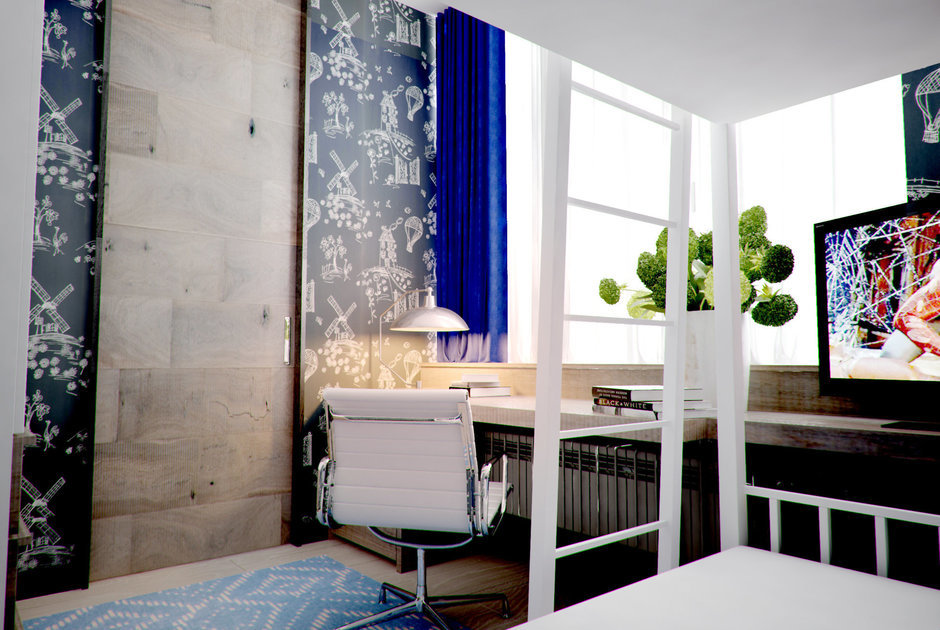 Фотография: Спальня в стиле Лофт, Современный, Малогабаритная квартира, Квартира, Дома и квартиры – фото на InMyRoom.ru
