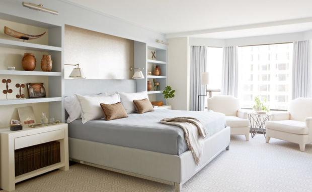 Фотография: Спальня в стиле Скандинавский, Декор интерьера, Зеленый, Бежевый, Серый, Розовый, Голубой – фото на InMyRoom.ru
