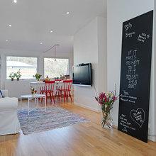 Фотография: Гостиная в стиле Скандинавский, Ремонт на практике, напольное покрытие, как уменьшить шум от ламината, ламинат в квартире – фото на InMyRoom.ru
