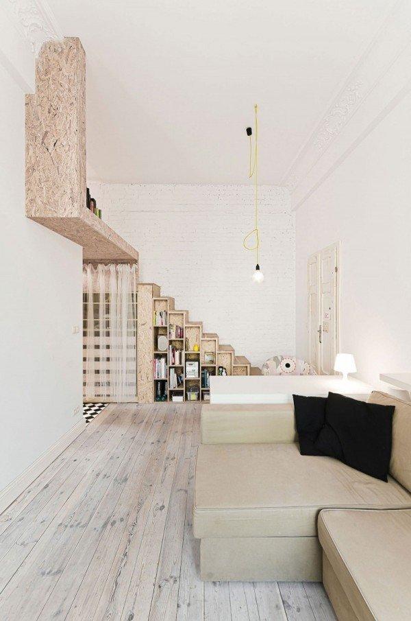 Фотография: Гостиная в стиле Лофт, Малогабаритная квартира, Квартира, Дома и квартиры, Минимализм – фото на InMyRoom.ru