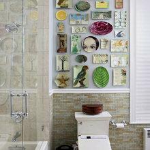 Фотография: Ванная в стиле Кантри, Декор интерьера, Декор дома, Цвет в интерьере, Обои – фото на InMyRoom.ru