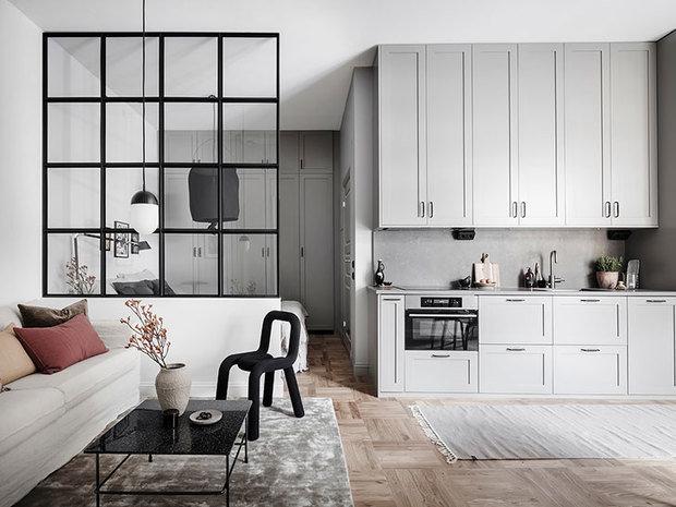 Фотография: Кухня и столовая в стиле Скандинавский, Малогабаритная квартира, Квартира, Студия, Швеция, до 40 метров – фото на InMyRoom.ru