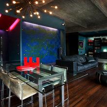Фотография: Кухня и столовая в стиле Лофт, Квартира, Цвет в интерьере, Дома и квартиры, Черный, Красный – фото на InMyRoom.ru