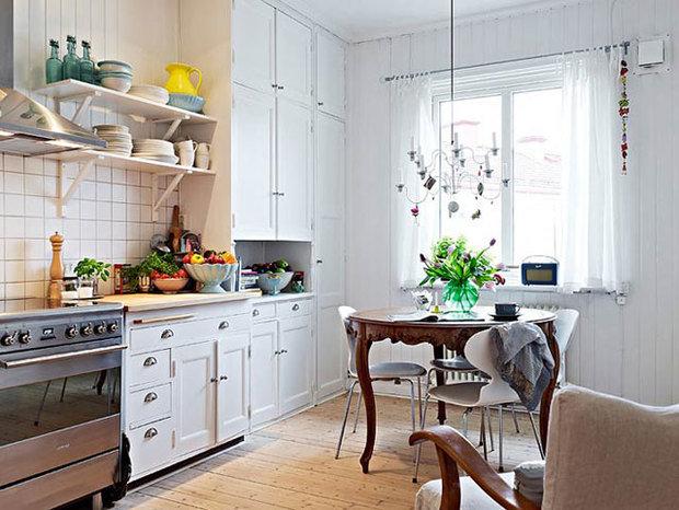 Фотография: Кухня и столовая в стиле Скандинавский, Обои, Переделка, Плитка, Краска, Стеновые панели – фото на InMyRoom.ru