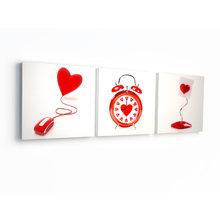 Триптих на холсте: Декор сердечки