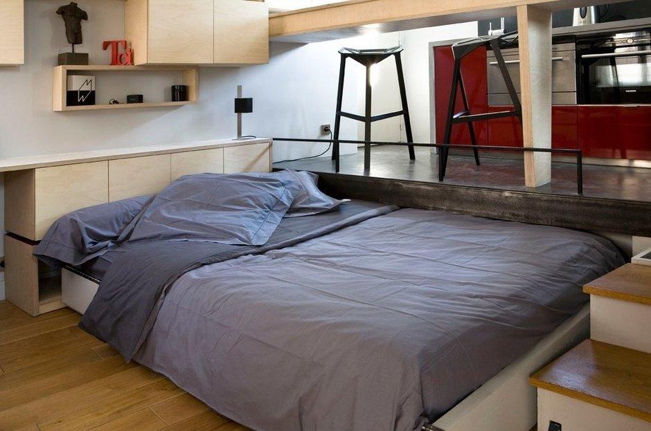 Фотография: Спальня в стиле Современный, Лофт, Малогабаритная квартира, Квартира, Дома и квартиры – фото на InMyRoom.ru