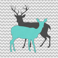 Картина (репродукция, постер): Два оленя в шевроне