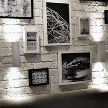 Фотография: Декор в стиле Скандинавский, Современный, Хай-тек, Квартира, Студия, Проект недели, открытая проводка, Пермь, Артемий Саранин, новостройка, Стеклянная перегородка, телевизор в тумбе – фото на InMyRoom.ru