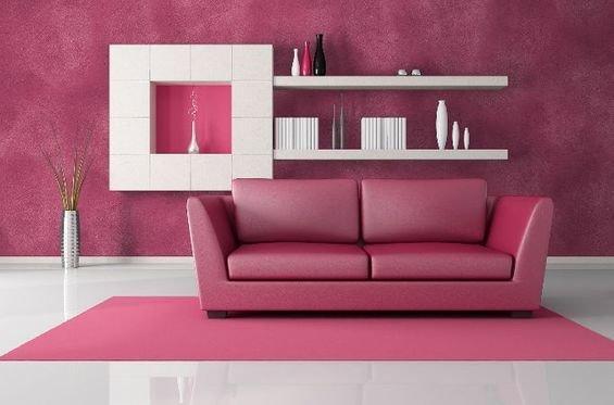 Фотография: Гостиная в стиле Современный, Декор интерьера, Дизайн интерьера, Мебель и свет, Цвет в интерьере, Стены, Розовый, Фуксия – фото на InMyRoom.ru