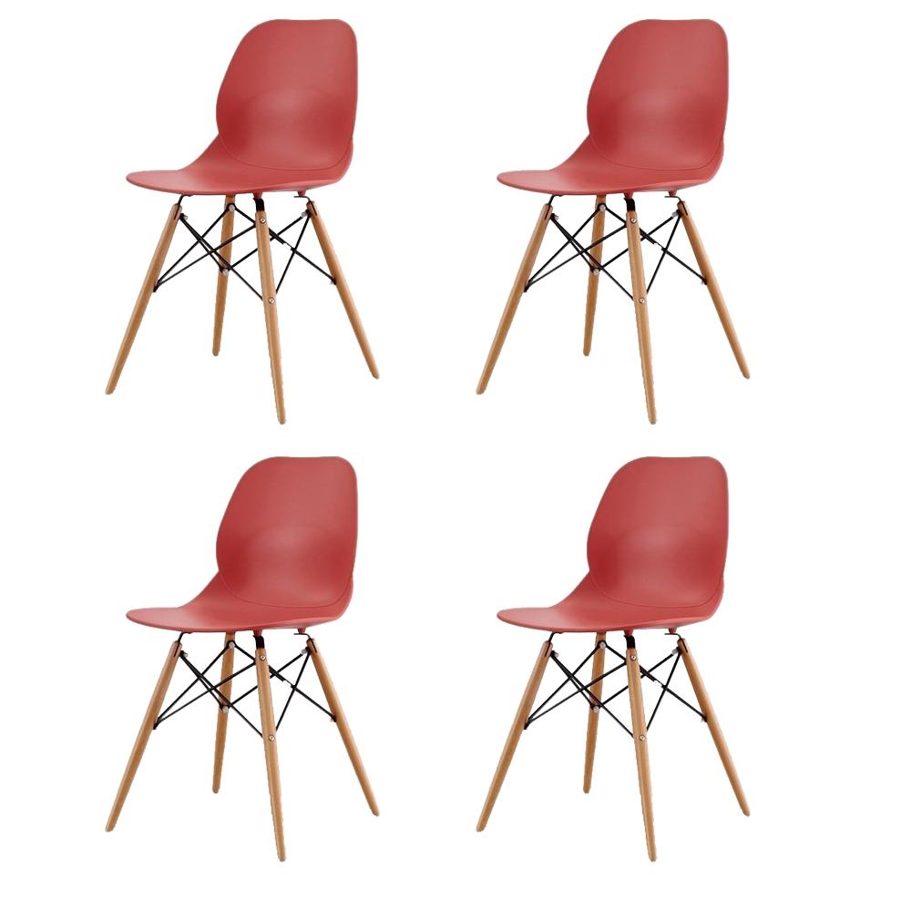 Купить Набор из четырех стульев красного цвета на деревянных ножках, inmyroom, Китай