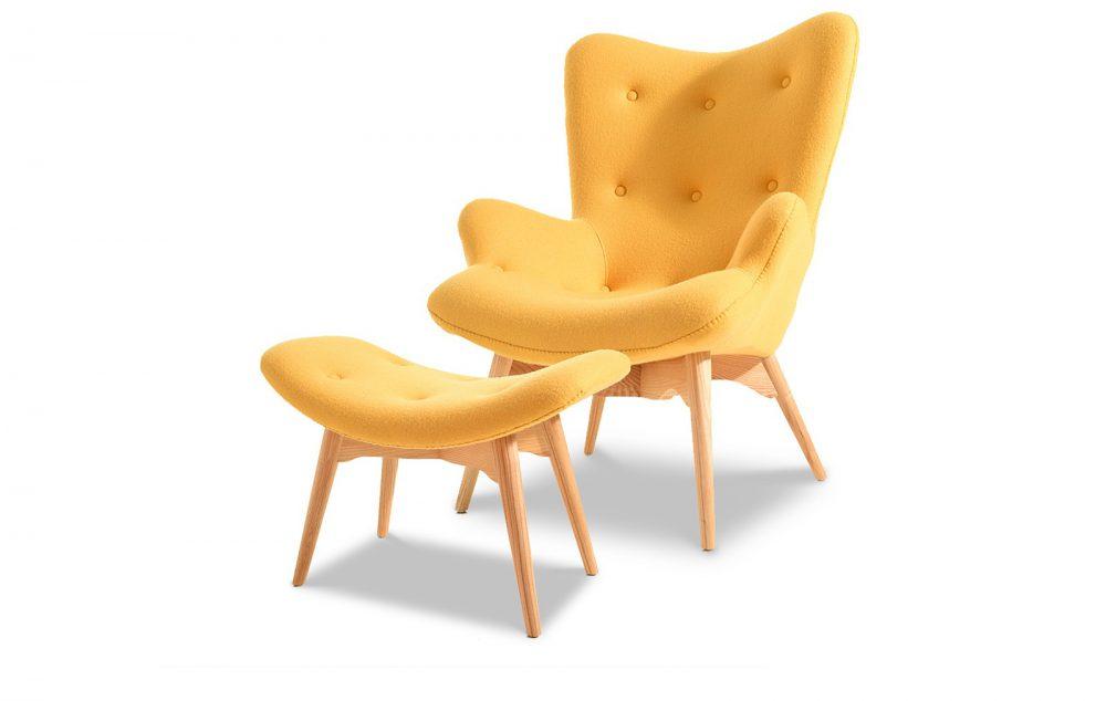 Набор кресло и пуф желтого цвета, inmyroom, Китай  - Купить
