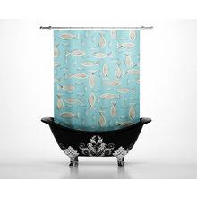 Штора для ванной: Нарисованные рыбы