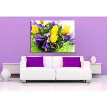 Декоративная картина на холсте: Желтые тюльпаны и ирисы