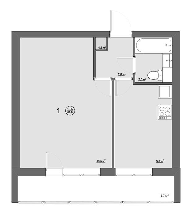 Обмерный план однокомнатной квартиры (34 кв. м) в блочном доме серии II-68-01