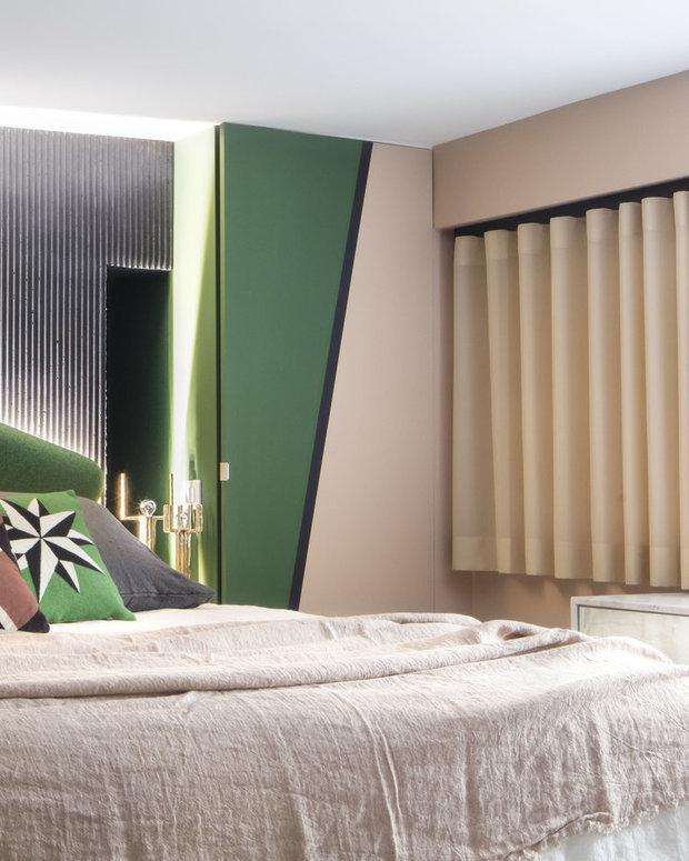 Фотография: Спальня в стиле Современный, Гостиная, Эклектика, Декор интерьера, Франция, Зеленый, Желтый, Коричневый, Лион, Клод Картье – фото на InMyRoom.ru