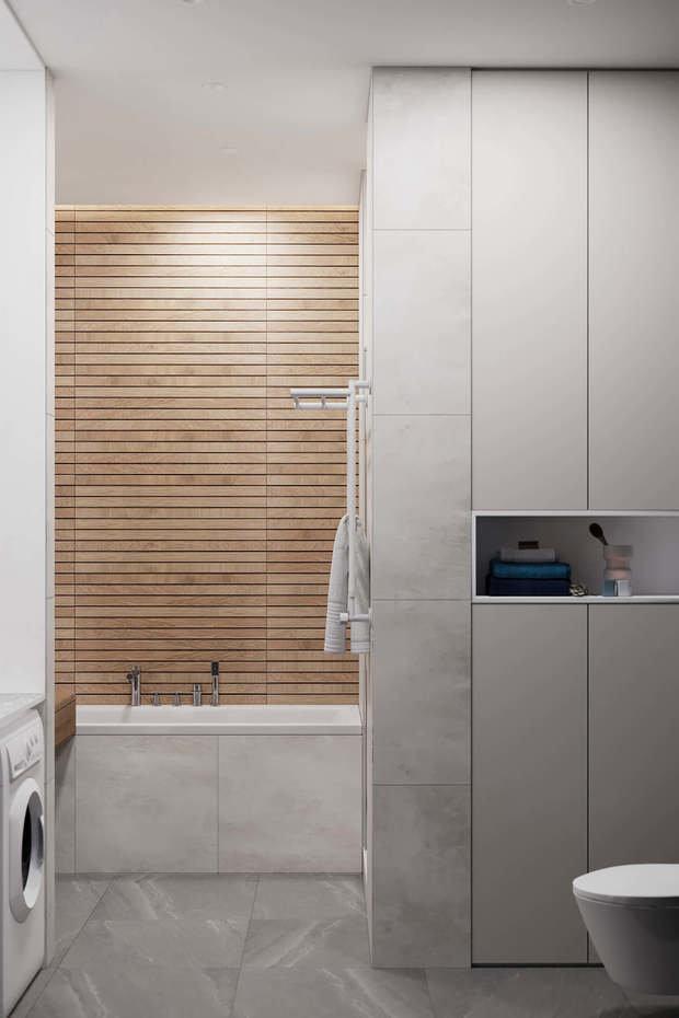 Фотография: Ванная в стиле Минимализм, Квартира, Проект недели, Geometrium, Более 90 метров, Kronospan – фото на INMYROOM