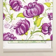 Рулонные шторы: Фиолетовые цветы