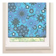 Рулонные шторы: Голубые осы и цветы