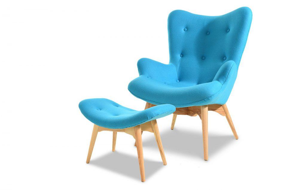 Купить Набор кресло Contour и пуф голубого цвета, inmyroom, Китай