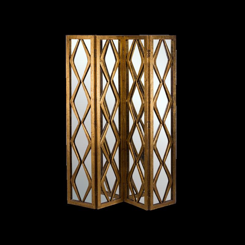 Ширма Serosa из золотистого дерева и матового стекла