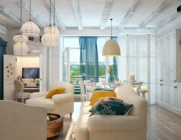 Фотография: Гостиная в стиле Скандинавский, Декор интерьера, Декор, текстиль в интерьере, декор окна, выбор штор для интерьера – фото на InMyRoom.ru