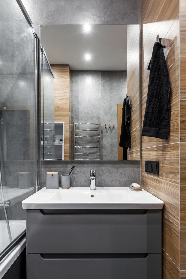 Фотография: Ванная в стиле Минимализм, Современный, Квартира, Проект недели, Химки, 3 комнаты, 60-90 метров, Flatforfox – фото на INMYROOM