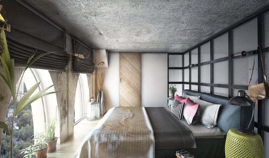 Фотография: Спальня в стиле Лофт, Квартира, Проект недели, Москва, ToTaste Studio, Монолитный дом, 4 и больше, 60-90 метров, ЖК «Соколиный форт» – фото на InMyRoom.ru