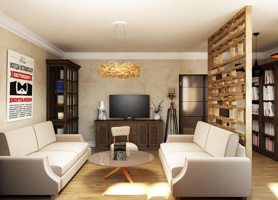 Фотография: Гостиная в стиле Лофт, Эклектика, Квартира, Проект недели, Эко – фото на InMyRoom.ru
