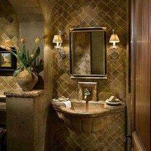 Фотография: Ванная в стиле Кантри, Восточный, Интерьер комнат, Светильник, Зеркало, Подсветка – фото на InMyRoom.ru