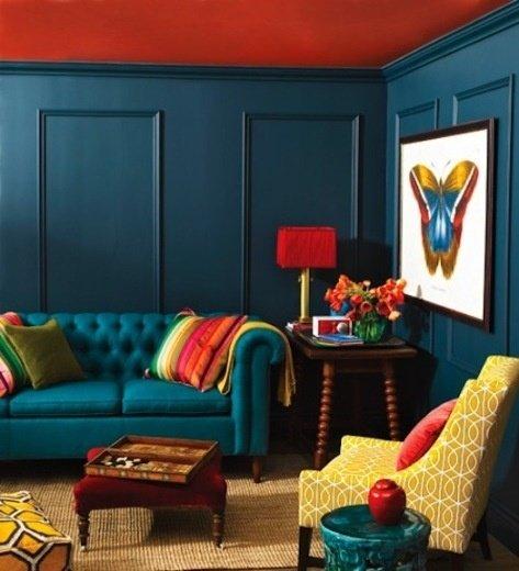 Фотография: Гостиная в стиле Прованс и Кантри, Декор интерьера, Дизайн интерьера, Цвет в интерьере, Потолок – фото на InMyRoom.ru