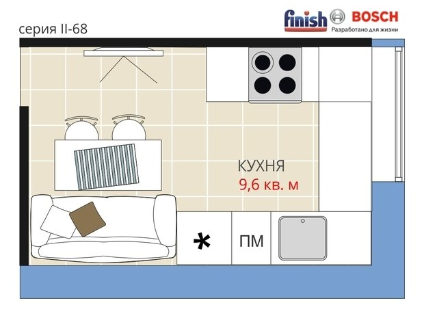 Фотография:  в стиле , Кухня и столовая, Квартира, BOSCH, Перепланировка, Анастасия Киселева, Блочный дом, II-68, Finish, 1 комната, до 40 метров, Евгения Шульженко – фото на InMyRoom.ru
